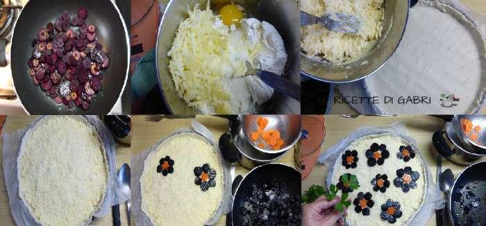 passo passo torta carote viola come fare torta rustica