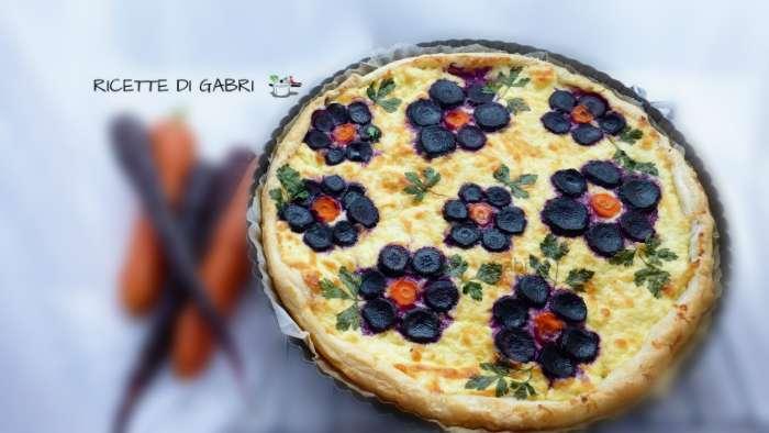torta sfoglia carote nere viola a fiore