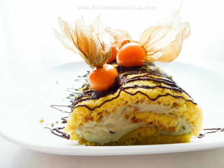 rotolo crema mascarpone e pistacchio