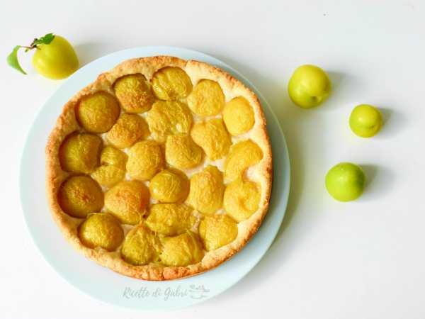 crostata vegana alle prugne gialla con pasta frolla senza burro ne uova ricetta facile veloce leggera