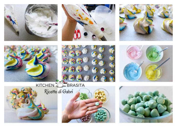 meringhe colorate e marmorizzate ricetta