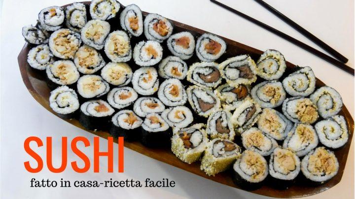 sushi fatto in casa. alga nori riso tonno senza pesce crudo