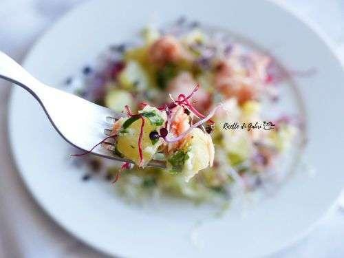 insalata germogli patate e salmone
