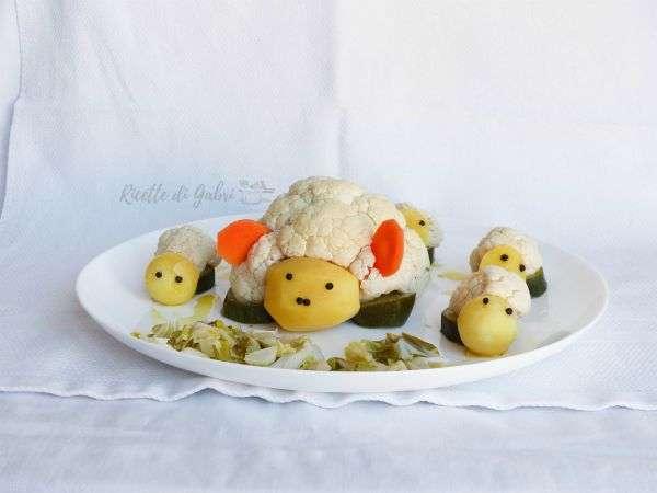 agnello di verdure pecore cavolfiore idea per pasqua ricetta vegetariana vegana