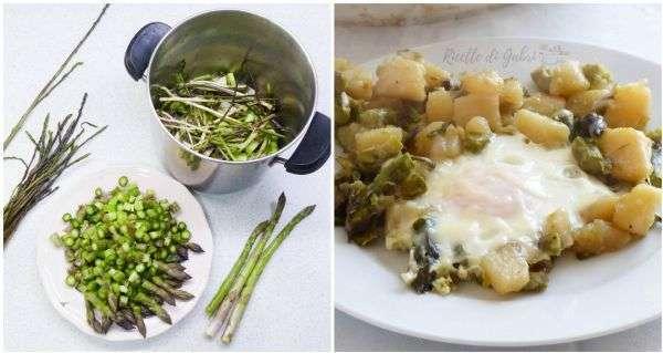 ricetta asparagi patate e uova in padella