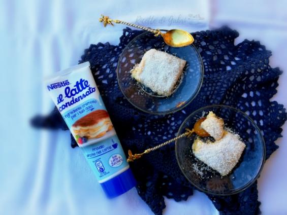 Torta paradiso tropicale cocco e latte condensato dolce con latte condensato