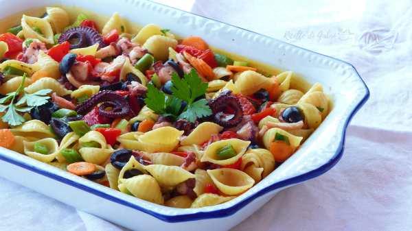 pasta conchiglie insalata di mare fredda pasta con polpo estiva