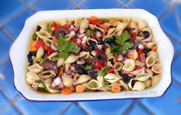 pasta fredda con polpo insalata di mare facile e veloce ricetta