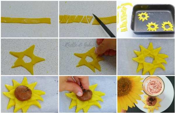 come fare pasta frolla senza burro per biscotti a forma di girasoli sunflower cookies