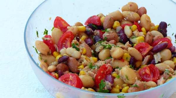 insalata di fagioli misti e tonno ricetta facile salvacena pranzo da ufficio