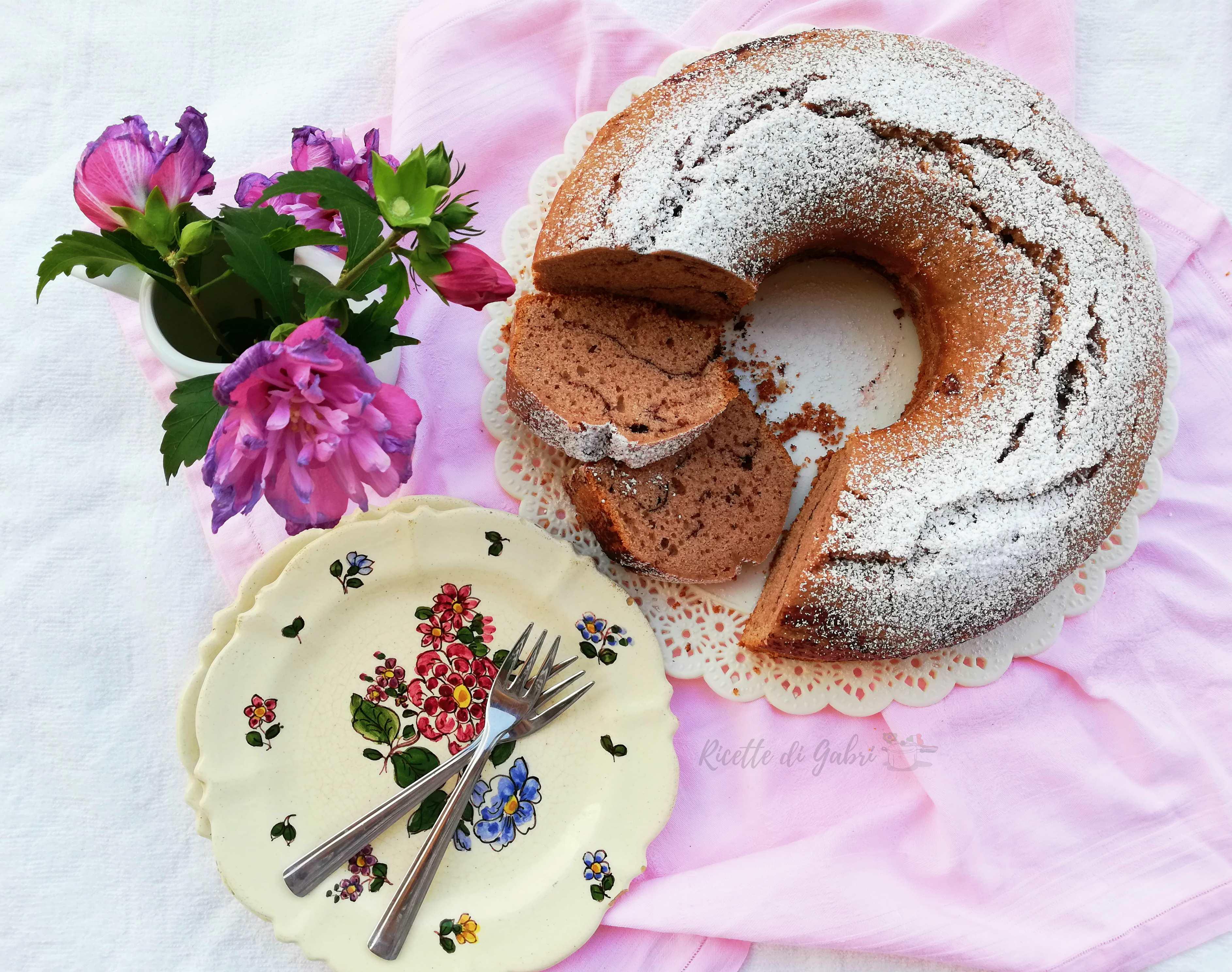 ciambellone con farina di castagne e cioccolato torta facile soffice veloce