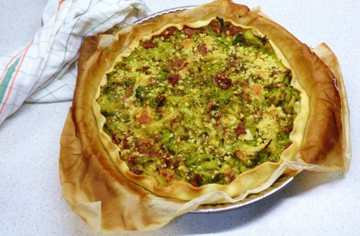torta salata con broccoli e salsiccia fatta in casa ricetta sfiziosa facile veloce ricette di gabri