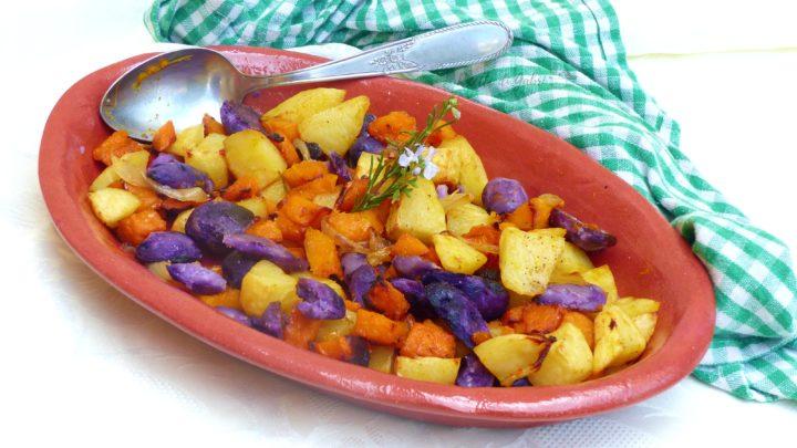 zucca e patate viola al forno contorno autunnale facile veloce ricette di gabri