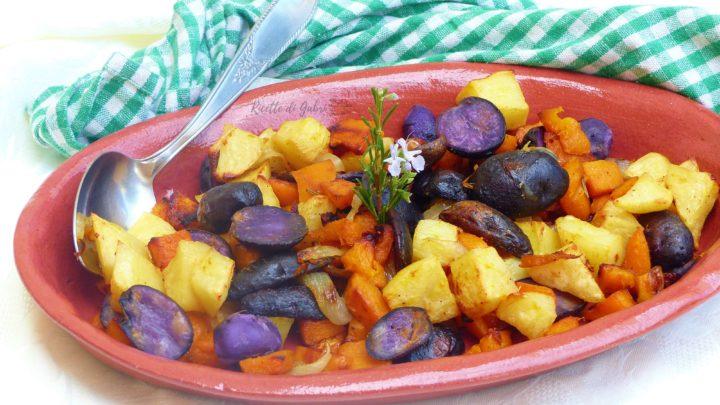ricetta verdure al forno zucca e patate viola contorno facile