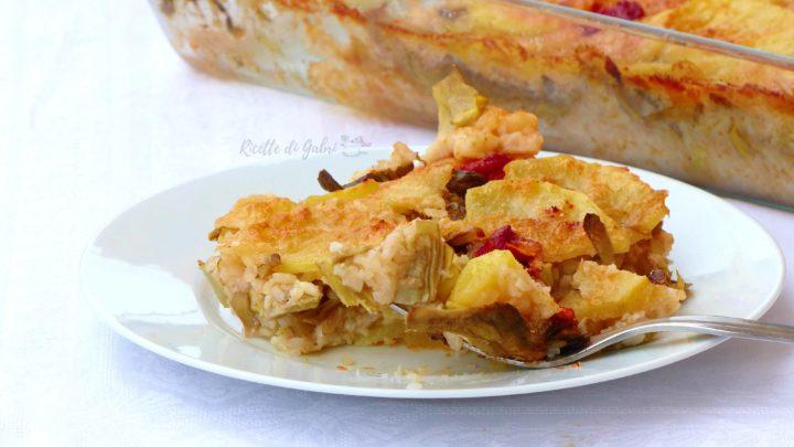 tiella barese riso patate e carciofi ricetta facile vegetariana di gabri