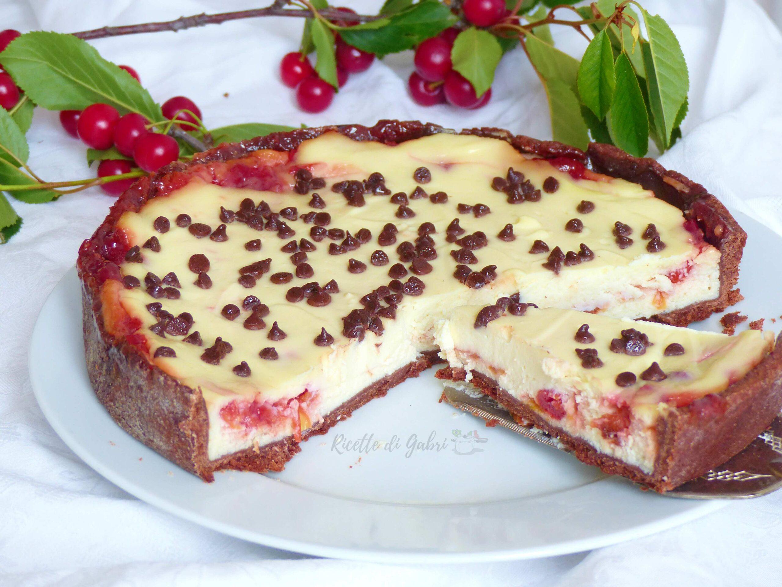 crostata cioccolato ricotta e visciole ricetta romana, marasche, ciliegie ricette di gabri