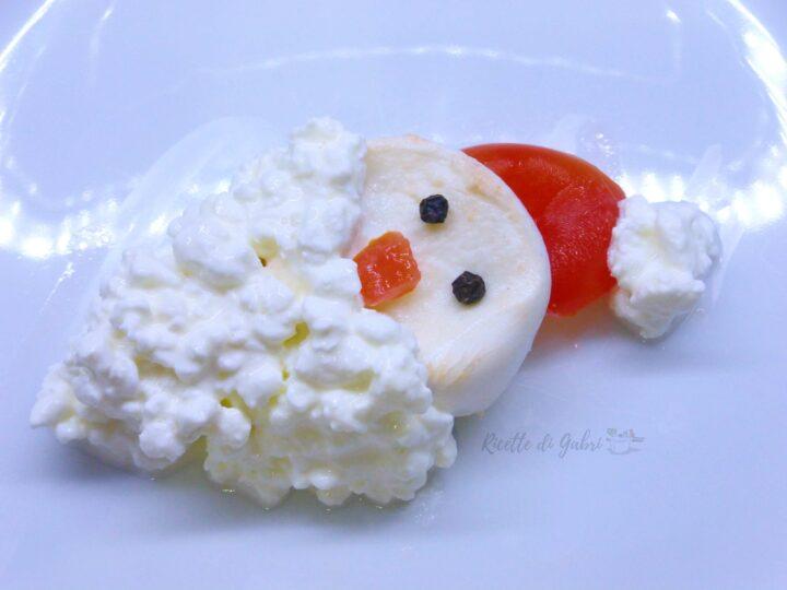 secondo vegetariano di natale antipasto babbo natale di mozzarella di gabri ricetta facile bambini