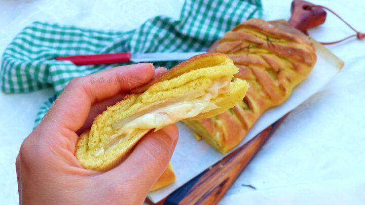 treccia salata ripiena di provola e patate impasto brioche semola ricetta facile di gabri