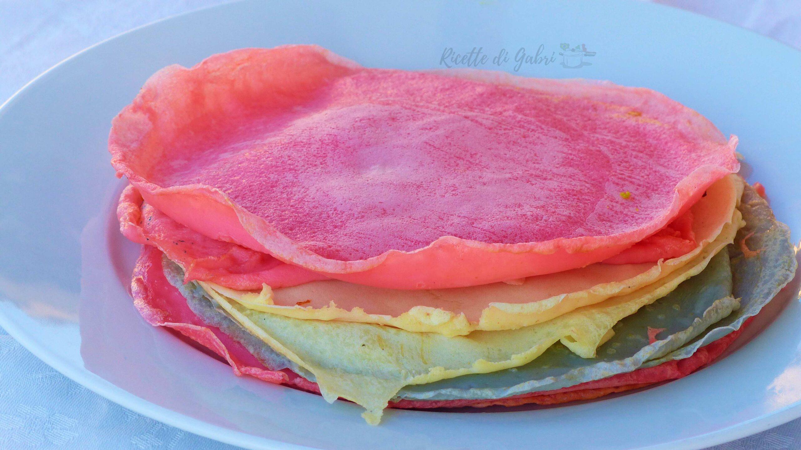 crepes colorate con soli albumi ricetta dolce di carnevale bambini gabri