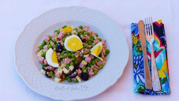 insalata di farro super proteica, insalatone primavera gabri , ricetta facile light