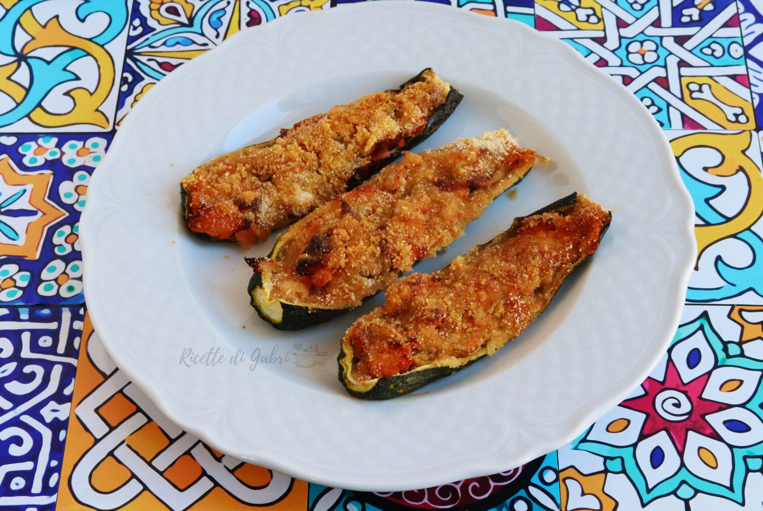 zucchine ripiene di salmone cotte in forno ricetta facile e veloce di gabri senza carne