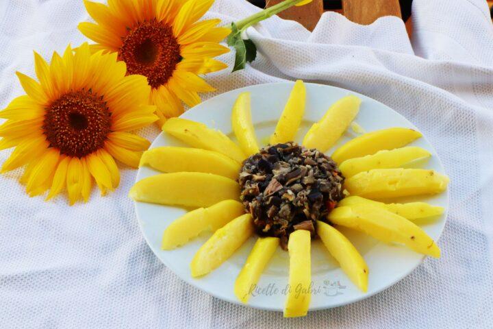 insalata di patate a forma di girasole con tonno melanzane e zafferano ricetta veloce salvacena di gabri