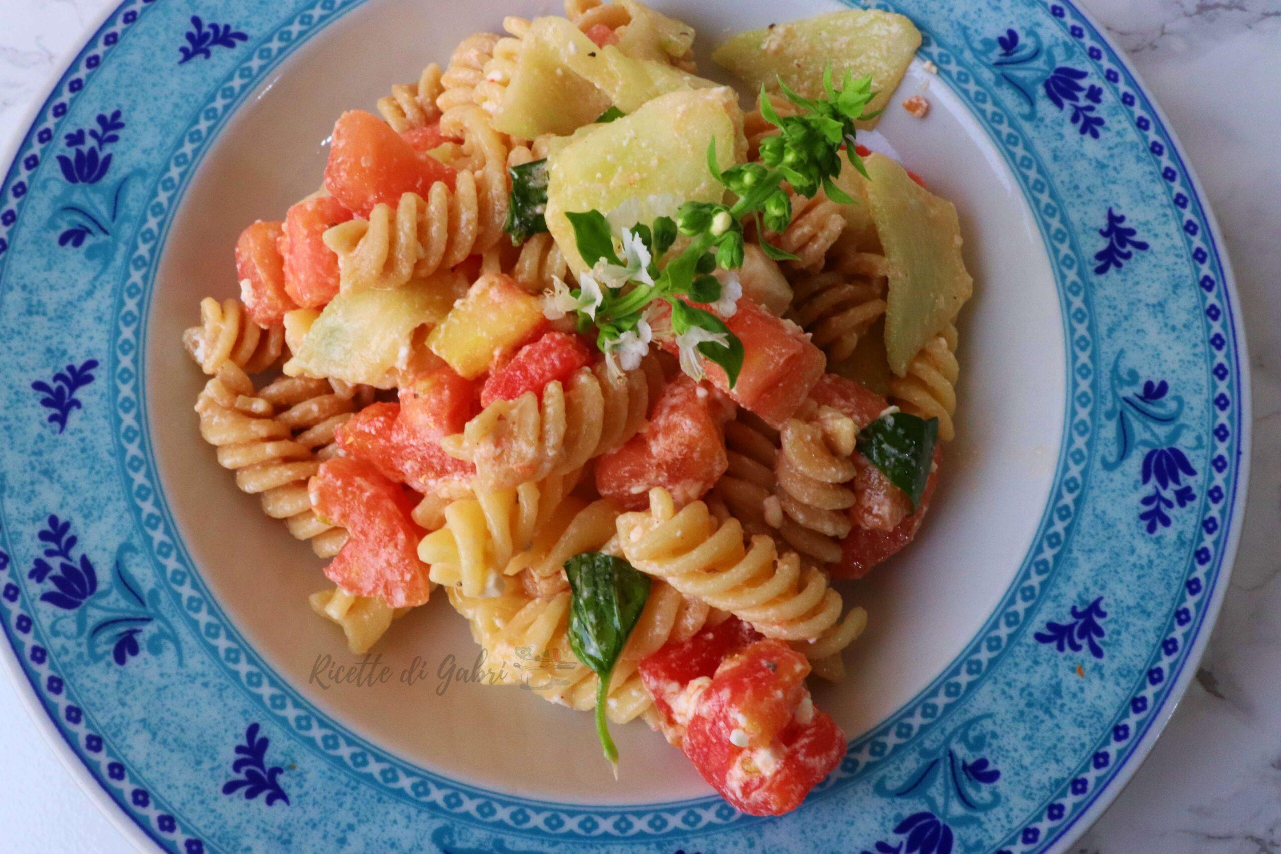 pasta fredda con cetrioli e feta greca facile veloce estiva