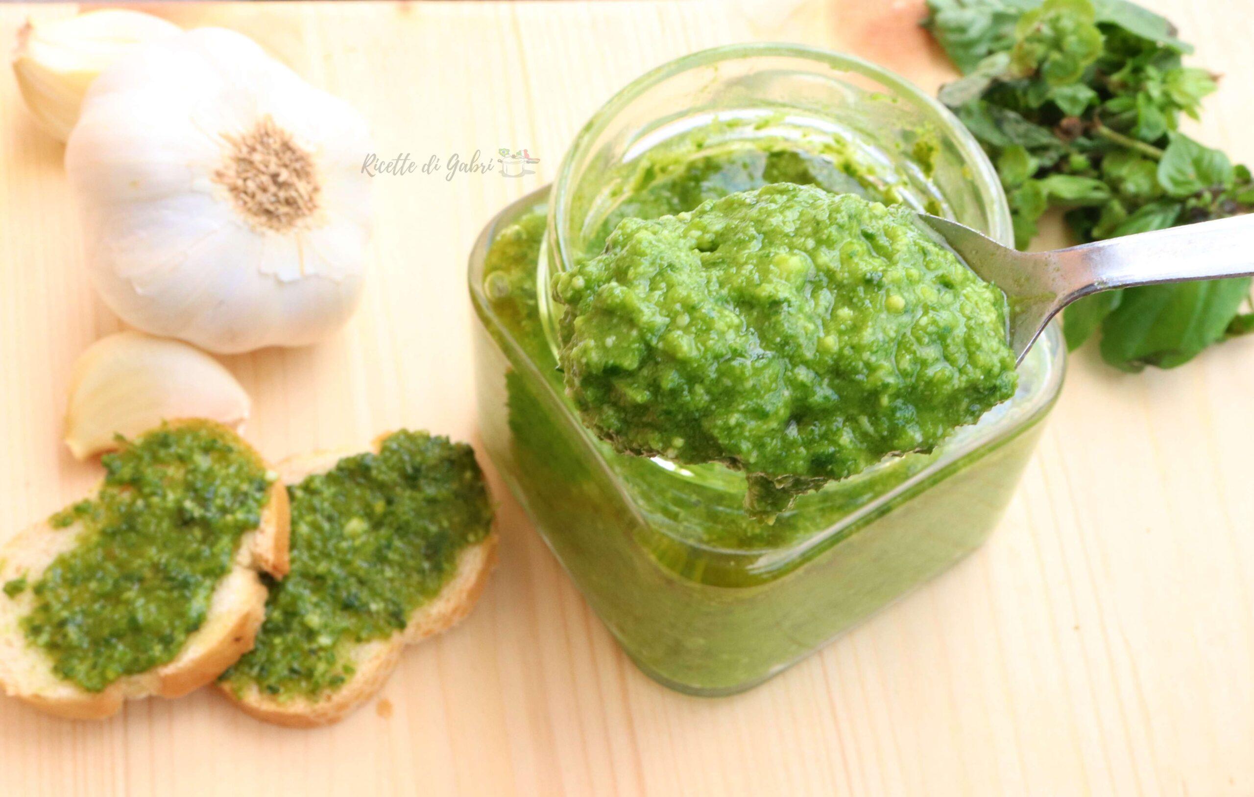 ricetta pesto di basilico genovese con frullatore facile veloce verde gabri