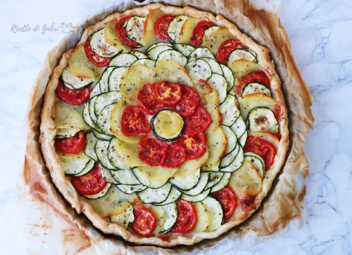 torta salata di sfoglia con zucchine pomodori e patate rustico veloce sfiziosa facile gabri
